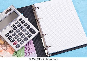 dinheiro, calculadora, e, em branco, notepad
