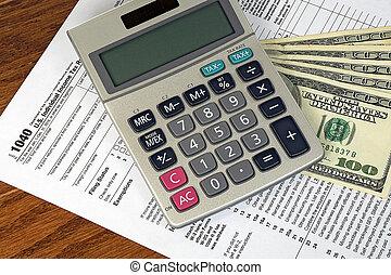 dinheiro, calculadora, forma imposto