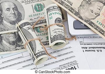 dinheiro, calculadora, imposto, fundo, forma