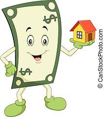 dinheiro, caricatura, segurando, casa