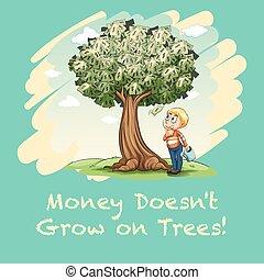 dinheiro, cheio, árvore, aguando, homem