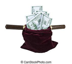 dinheiro, cheio, veludo, oferecendo, saco