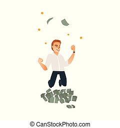 dinheiro, chuva, pular, sob, homem negócios, homem, feliz
