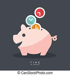 dinheiro, cofre, tempo