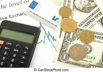 dinheiro, com, calculadora