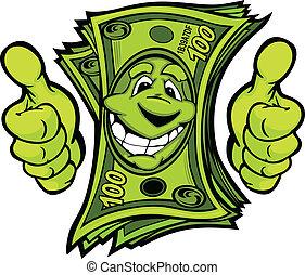 dinheiro, com, mãos, dar, polegares cima, gesto, caricatura,...