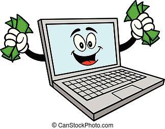 dinheiro, computador, mascote
