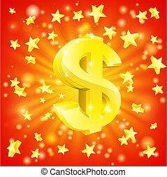 dinheiro, conceito, dólar, estrela