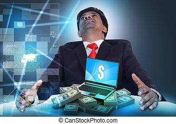 dinheiro, conceito, online