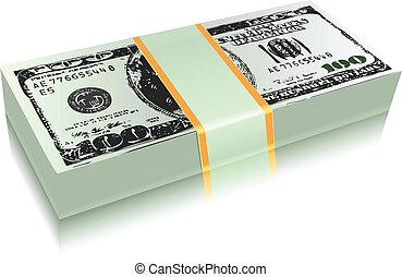 dinheiro, conta, dólar, pacote
