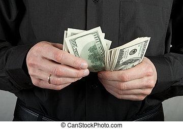dinheiro, conta, homem, mãos