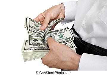 dinheiro, conta, mãos