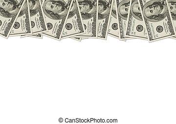dinheiro, contas, dólar, borda, cem