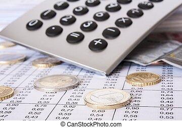 dinheiro, contas, e, calculadora, profundidade campo