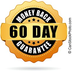 dinheiro, costas, 60, vetorial, garantia, dia, ícone