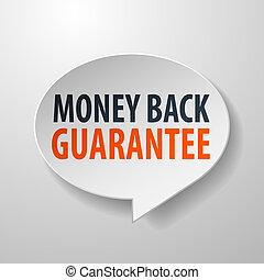 dinheiro, costas, fala, fundo, branca, 3d, bolha, garantia