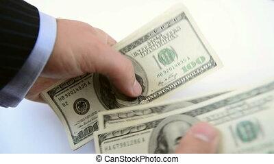 dinheiro, counting., fim, vista