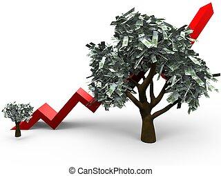 dinheiro, crescimento, árvore