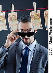 dinheiro, criminal, passar roupa, sujo