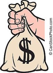 dinheiro, dólar, saco, segurando mão