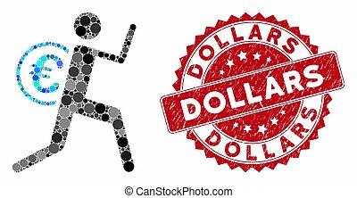 dinheiro, dólares, mosaico, mensageiro, selo, angústia