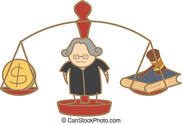 dinheiro, decisão, personagem, juiz, fazer, lei, caricatura