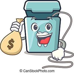 dinheiro, dental, personagem, isolado, saco, floss