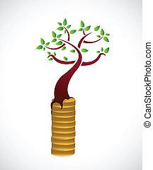 dinheiro, desenho, conceito, crescimento, ilustração