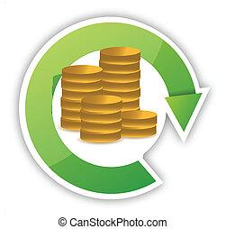 dinheiro, desenho, ilustração, ciclo