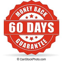 dinheiro, dias, costas, 60, garantia, ícone