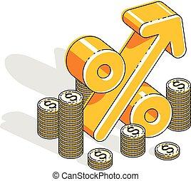 dinheiro, dimensional, taxa, design., isometric, lucro, cento, isolado, pilha, experiência., renda, porcentagem, 3d, finanças, negócio, símbolo, linha, branca, ilustração, dinheiro, conceito, vetorial, magra
