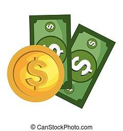 dinheiro, dinheiro, isolado, ícone