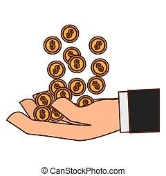 dinheiro, dinheiro, relatado, ícones, imagem