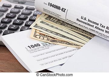 dinheiro, e, calculadora, com, forma imposto