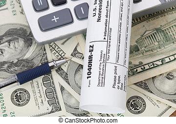 dinheiro, e, calculadora, com, imposto, form.