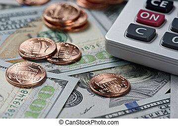 dinheiro, e, calculator., financeiro, fundo