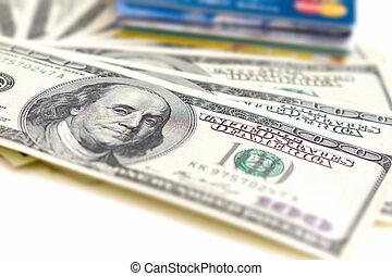 dinheiro, e, cartões, operação bancária, conceito