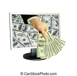 dinheiro, e, computador