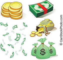 dinheiro, e, moedas