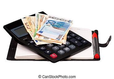dinheiro, e, notepad