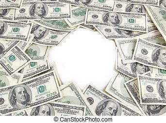 dinheiro, em branco, fundo, área