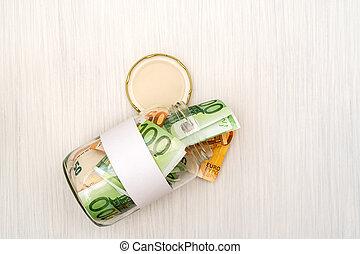 dinheiro, em branco, jarro, etiqueta