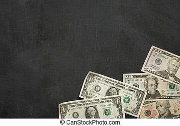 dinheiro, em branco, quadro-negro