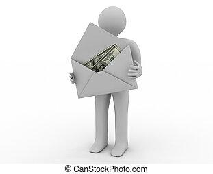dinheiro, em, envelope, branco, experiência., isolado, 3d, imagem