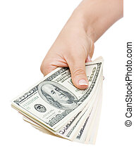 dinheiro, em, mão, isolado, branco, fundo
