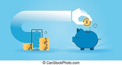 dinheiro, enquanto, shopping, poupar, online