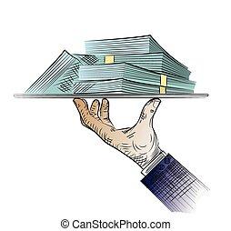 dinheiro, esboço, mão