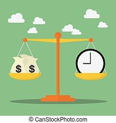 dinheiro, escala, equilíbrio, tempo