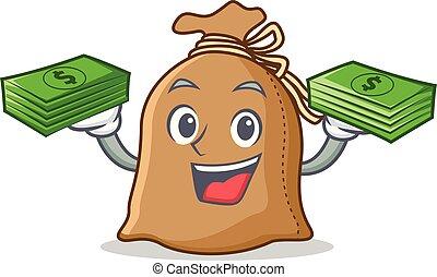 dinheiro, estilo, caricatura, saco, mascote