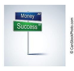 dinheiro, estrada, direção, sinal., sucesso
